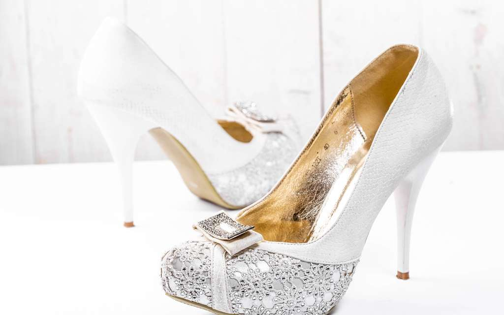 Women and their wedding shoes